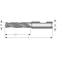 111507 Solid carbide high-performance drill bit 3xD TiNplus internal cooling